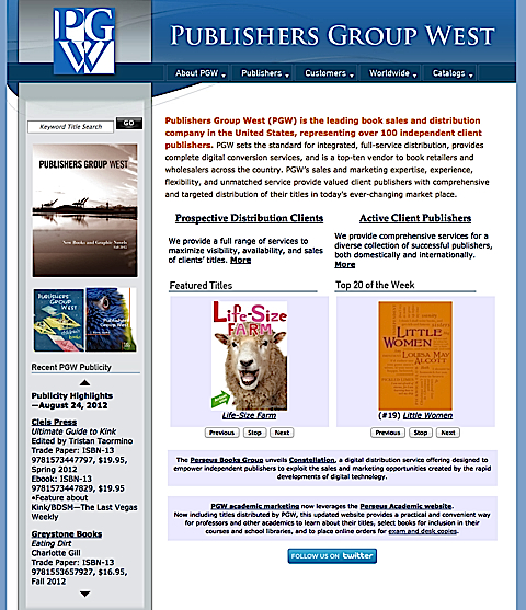 Publishers Group West is a distributor for indie book publishers